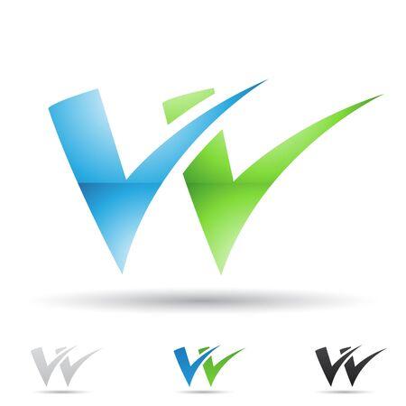 logos de empresas: Ilustración de vector de iconos abstractas basada en la letra w