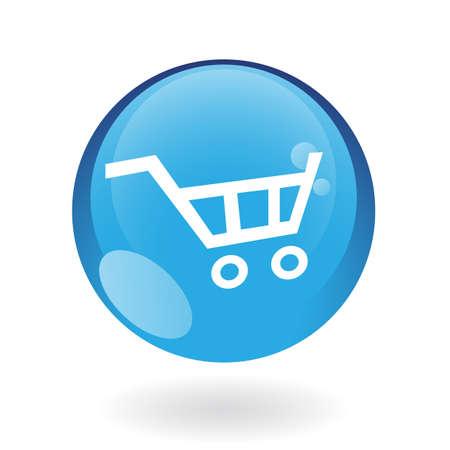 shoppingcart: Blue cart isolated on white
