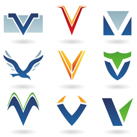 Vector illustration of abstract icons based on the letter V Stock Photo