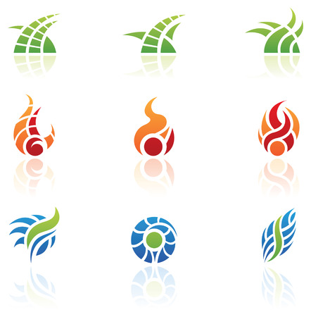 elements of nature: various nature elements icons, isolated