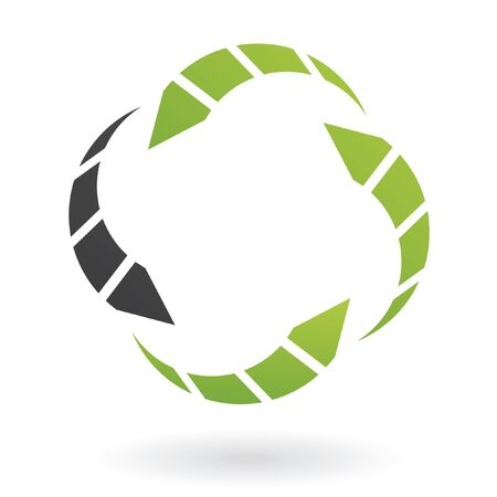 Black and green arrows logo and design element
