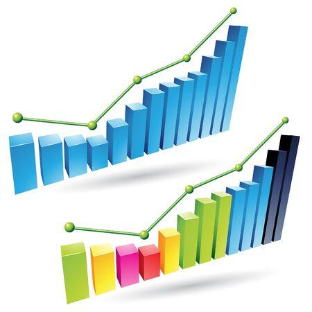 stat: Vector illustration of colorful 3d stat bar graphs