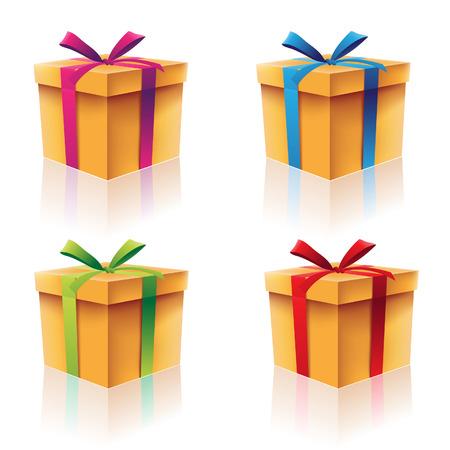 Illustration der bunten Karton Geschenkboxen Standard-Bild