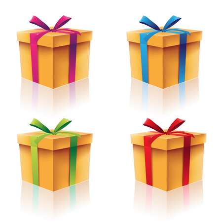 gift boxes: Illustration of Colorful Cardboard Gift Boxes