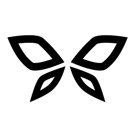 airways: Illustration of Black Butterfly Icon isolated on a white background