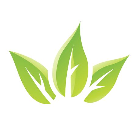 art logo: Illustration of Green Glossy Leaves Icon isolated on a white background Stock Photo