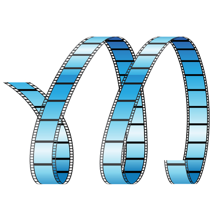 features: Illustration of Curly Film Reel Forming Letter M isolated on a white background