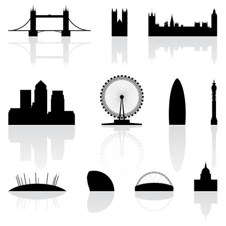 wembley: London famous landmarks isolated on a white background Stock Photo
