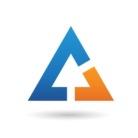 Orange and Blue Abstract Icon Illustration isolated on a white background