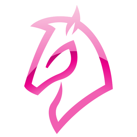 filly: Illustration of Pink Glossy Horse Icon isolated on a white background Stock Photo