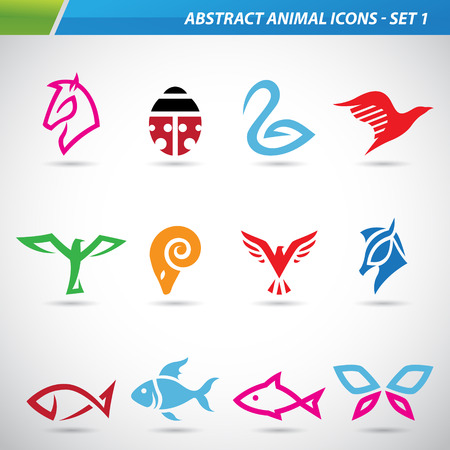 abstract animal: Vector illustration of colorful abstract animal icons