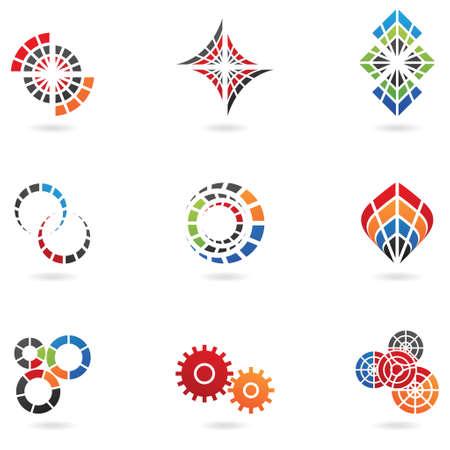 geometrical: cog icons (set of 9) isolated on white