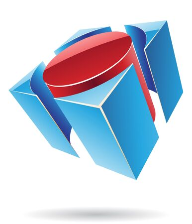 rectangular: Abstract cubic logo icon and graphic design Stock Photo
