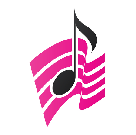 Illustration of Magenta Musical Note isolated on a white background Stock Photo