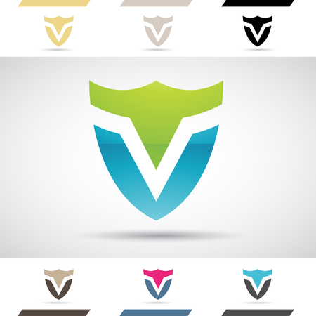 Design Concept of Colorful Stock Logos Icons and Shapes of Letter V, Vector Illustration