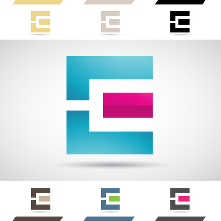 letter: Design Concept of Colorful Stock Logos Icons and Shapes of Letter E, Vector Illustration