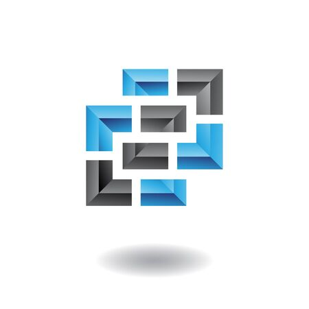 rectangular: 3d blue and black logo icon and design element