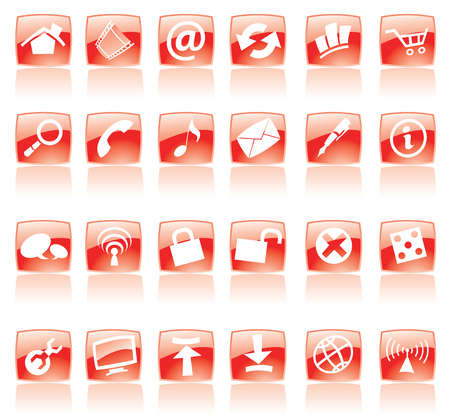 icons: Red web and computer icons on white