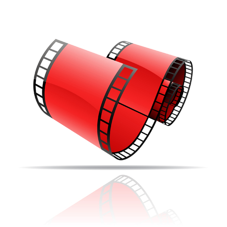 Red film reel isolated on white Stock Photo