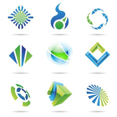 sphere logo: Various blue and green abstract icons isolated on a white background Stock Photo
