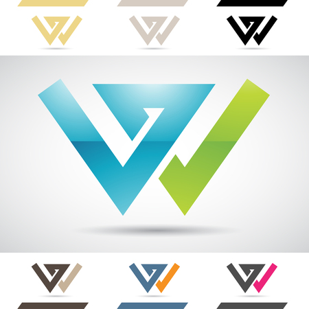 Design Concept of Colorful Stock Logos Icons and Shapes of Letter W, Vector Illustration Stock Photo