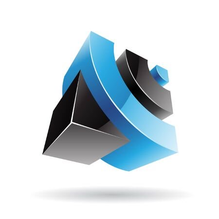 the third dimension: 3d colorful cubic logo icon and design element Stock Photo