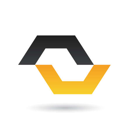 rectangular: Black and Yellow Abstract Icon Illustration isolated on a white background