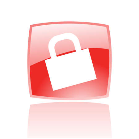 red button: Glossy padlock in red button isolated on white Stock Photo