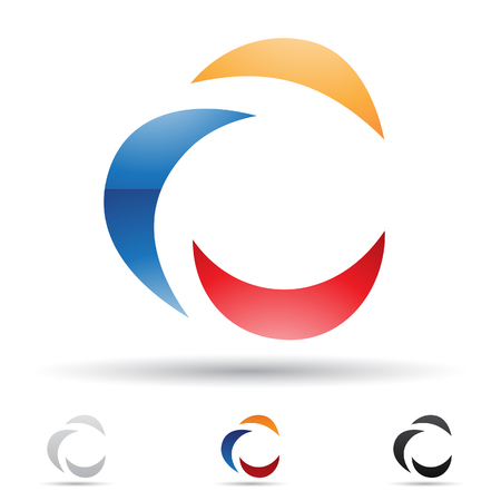 Vector illustration of abstract icons based on the letter C Stock Photo