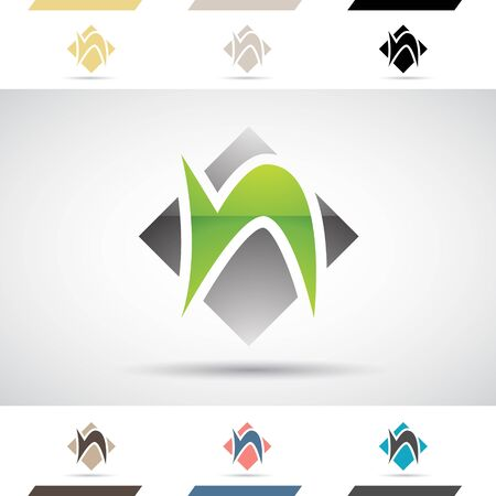 Design Concept of Colorful Stock Logos Icons and Shapes of Letter N, Vector Illustration