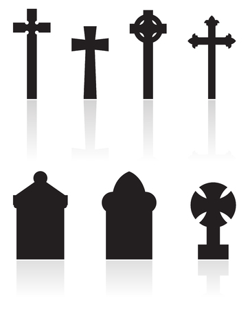 mortal: a set of gravestones silhouettes isolated on white Stock Photo