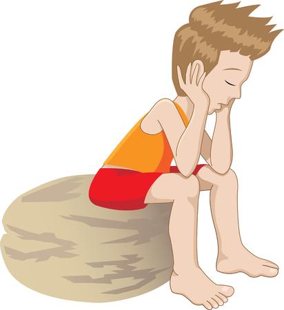 niños tristes: ilustración vectorial de un pensamiento (o aburrido) Niño
