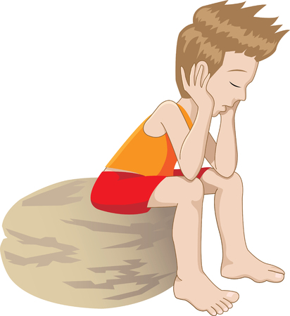 annoyed: vector illustration of a thinking (or bored) Kid