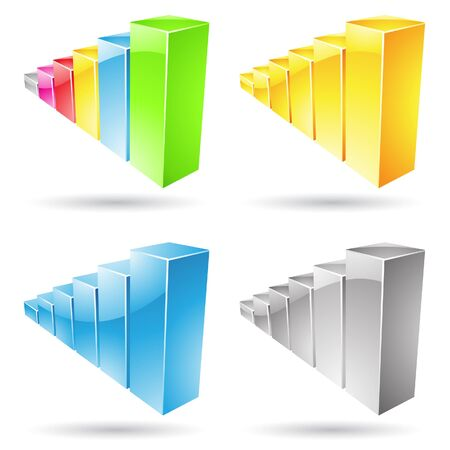 stat: Vector illustration of colorful stat bar icons isolated on white Stock Photo