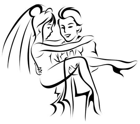 pareja de esposos: La novia y el novio ilustración vectorial estilizada Foto de archivo
