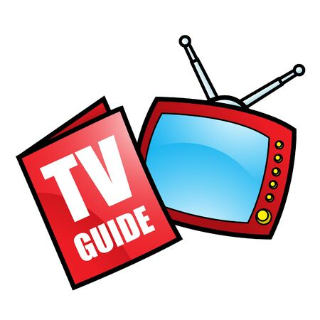 Illustration of TV Guide and Television isolated on a white background