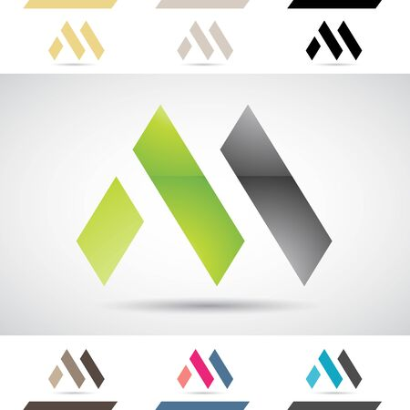 element: Design Concept of Colorful Stock Logos Icons and Shapes of Letter M, Vector Illustration