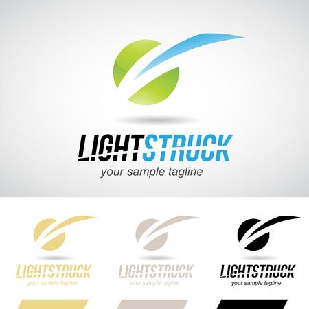 bolt: Green and Blue Glossy Lightning Bolt Logo Icon Vector Illustration Stock Photo