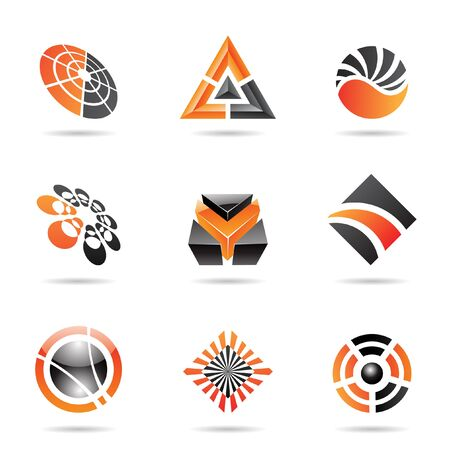 Abstract black and orange Icon Set isolated on a white background Stock Photo