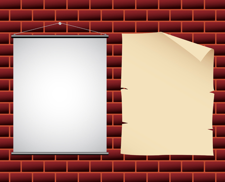 canvas on wall: promotional paper and canvas banners on a wall