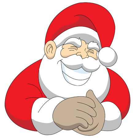 mischievous: vector illustration of a cheeky grinning Santa
