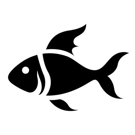흰색 배경에 고립 된 검은 만화 물고기 아이콘의 그림