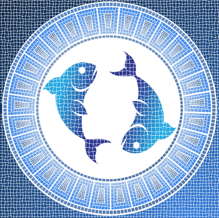 mosaic: Element water: pisces zodiac sign on a mosaic