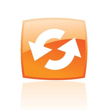 Refresco brillante en el botón naranja aislado en blanco  Foto de archivo