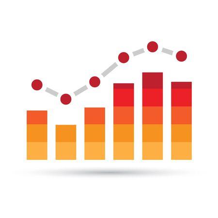 Illustration of Orange Stats Bars isolated on a white background Stock Photo