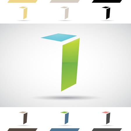 rectangulo: Concepto de diseño de iconos de colores stock Logotipos y formas de la letra I, ilustración vectorial