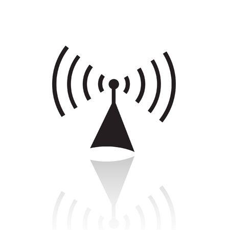antenna: Black radio isolated on white Stock Photo