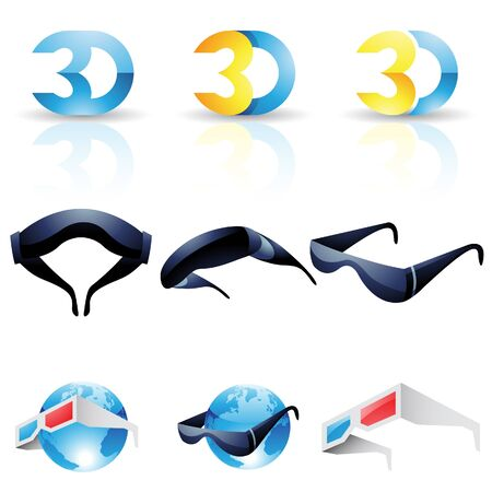 stereoscopic: 3D stereoscopic glasses isolated on a white background
