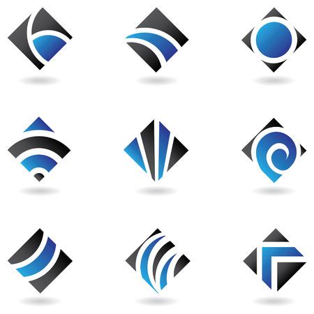 diamond shaped: blue diamond shaped icons isolated on white
