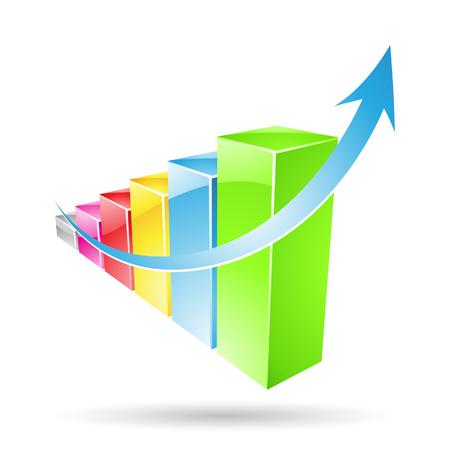economic forecast: Vector illustration of colorful stat bars isolated on white Stock Photo